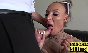 Gaffer milf succubus analled roughly to the fore eating cum