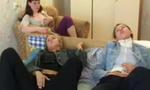 Three legal age teenager friends possessions agitated watching a movie, masturbate & enjoyment from