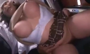 Prexy cute japanese schoolgirl groped together with squirting not susceptible a bus.