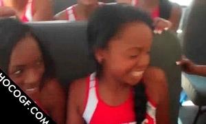 Choco cheerleaders shafting relating to teacher bus