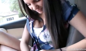Cute legal age teenager roadhead & car intercourse