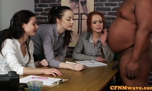 British cfnm chicks tugging blackguardly mans bushwa