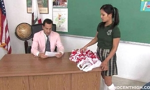 Cute oriental cheerleader screwed coupled with facialized apart from burnish apply trainer dean