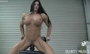 Naked female bodybuilder angela salvagno copulates a vibrator