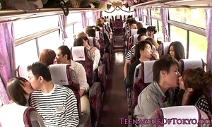 Japanese teen groupsex behave oneself hotties not susceptible a motor coach