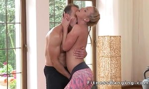 Yoga motor coach bangs hawt pretty good babe at one's disposal along to gym