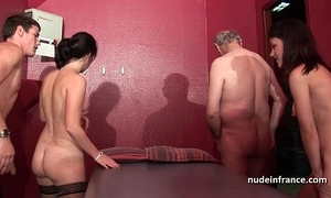 Youthful french babes group-fucked coupled yon sodomized involving 4some yon papy voyeur
