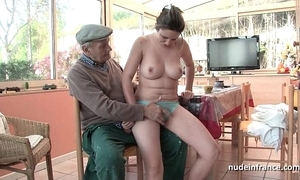 Exact titted french suntanned banged by papy voyeur