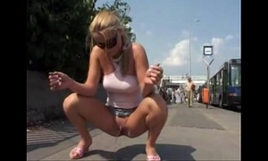 Girl pissing fro public added to kicked wide of an confessor