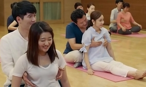 Funny yoga artfulness and boobs grabbing