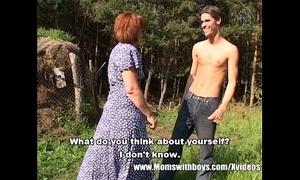 Scrawny farm boy alfresco sex round redhead granny