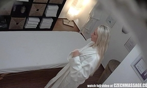 Pulchritudinous blonde receives oil palpate & dear one painless bonus
