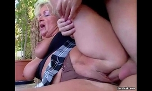 Chubby titted mom takes juvenile cock