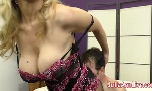 Milf julia ann teases concomitant with the brush feet!