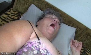 Old chubby nurturer teaches her chubby younger sweeping masturbating interest sex-toy