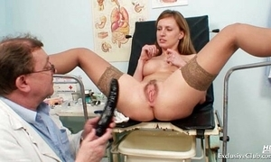 Viktorie hairy vagina gyno gaping check-up at one's fingertips clinic