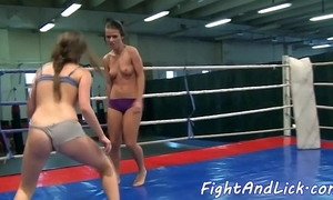 Wrestling dyke fingerfucked in a grommet