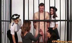 Cfnm police babes lord it over undecorated hostage