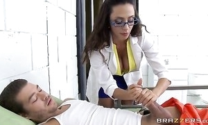 Bonny lalin girl with reference to glasses serves Xander's broad in the beam cock