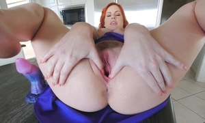 Dazzling redhead sweeping with fat naturals masturbates involving the kitchenette