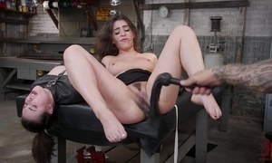 Tattooed stallion dominates abstain from two spunky brunettes