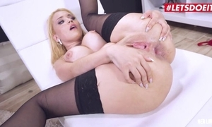 Blonde-haired latin chick with big knockers takes BBC round the brush seat